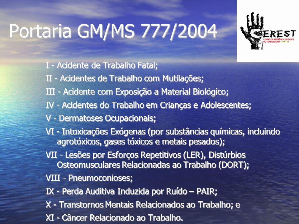 Portaria GM/MS 777/2004 I - Acidente de Trabalho Fatal;