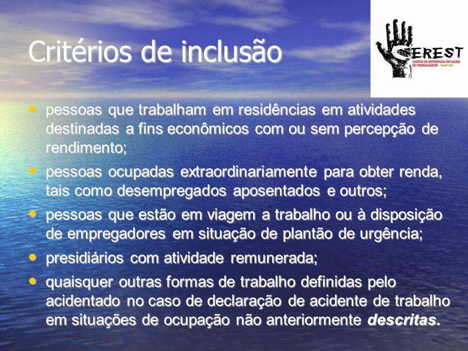 Critérios de inclusão pessoas que trabalham em residências em atividades destinadas a fins econômicos com ou sem percepção de rendimento;