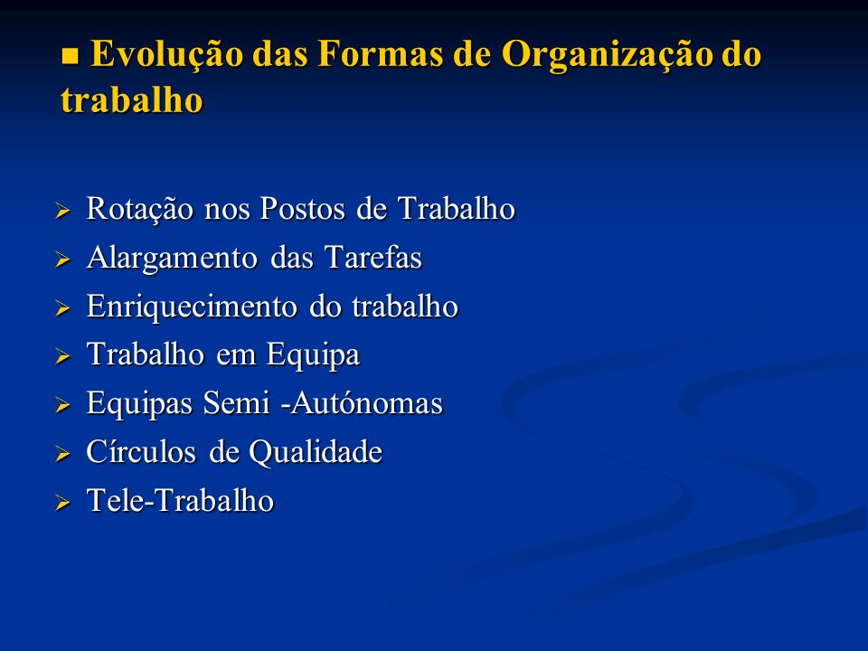 Evolução das Formas de Organização do trabalho