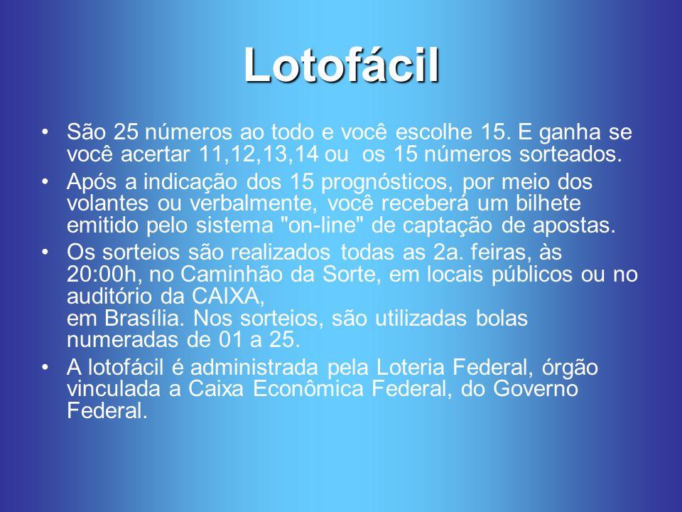 Lotofácil São 25 números ao todo e você escolhe 15. E ganha se você acertar 11,12,13,14 ou os 15 números sorteados.