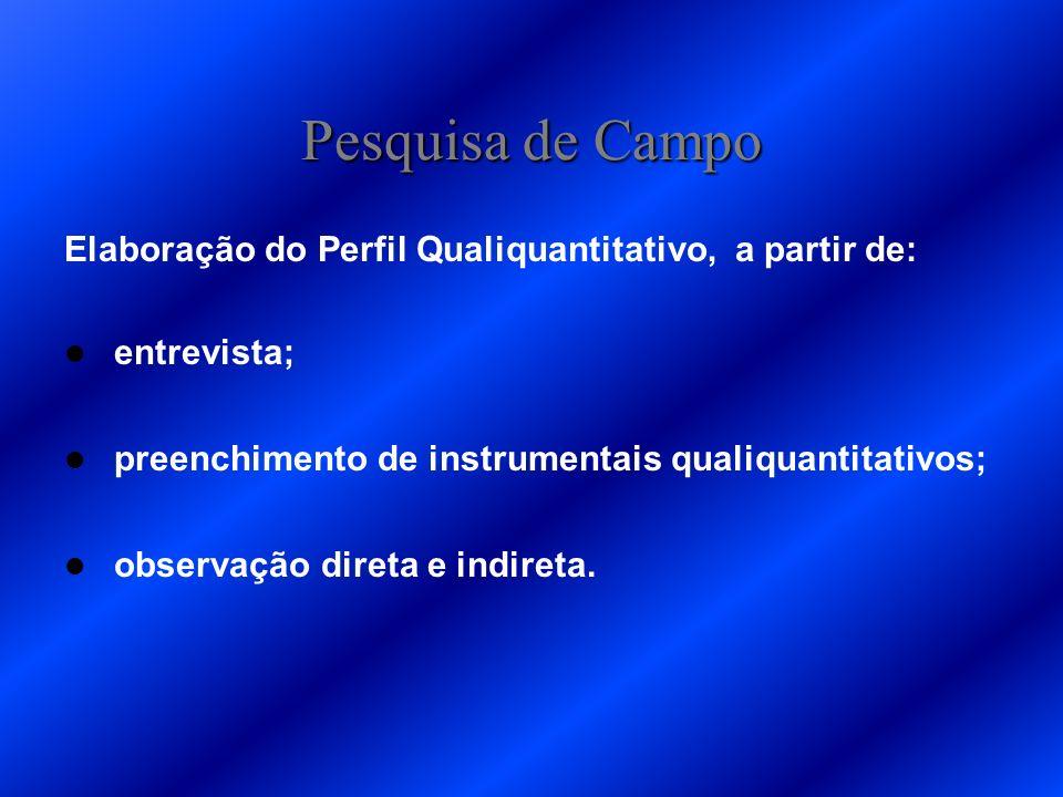 Pesquisa de Campo Elaboração do Perfil Qualiquantitativo, a partir de: