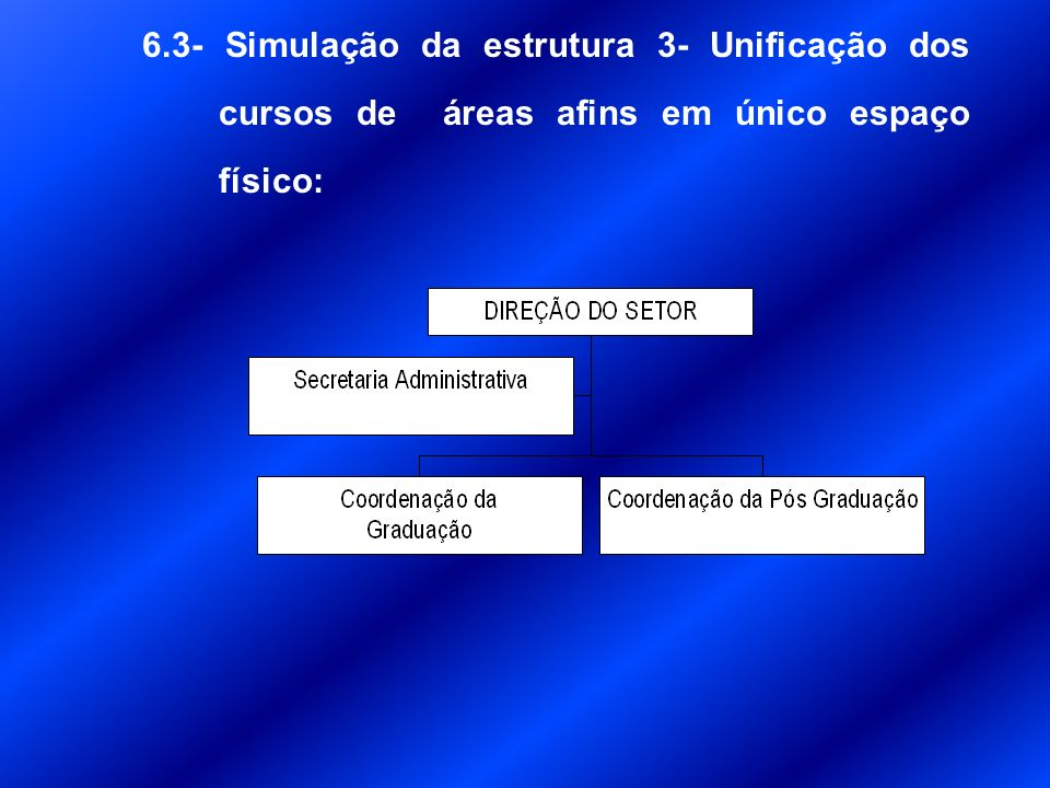 6.3- Simulação da estrutura 3- Unificação dos cursos de áreas afins em único espaço físico: