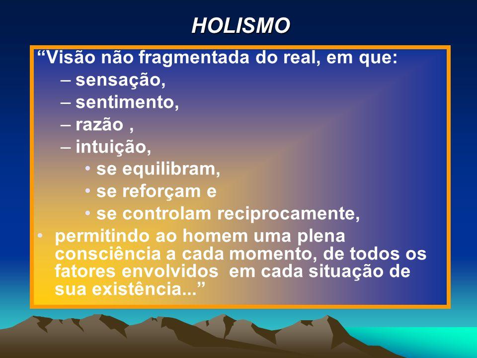 HOLISMO Visão não fragmentada do real, em que: sensação, sentimento,