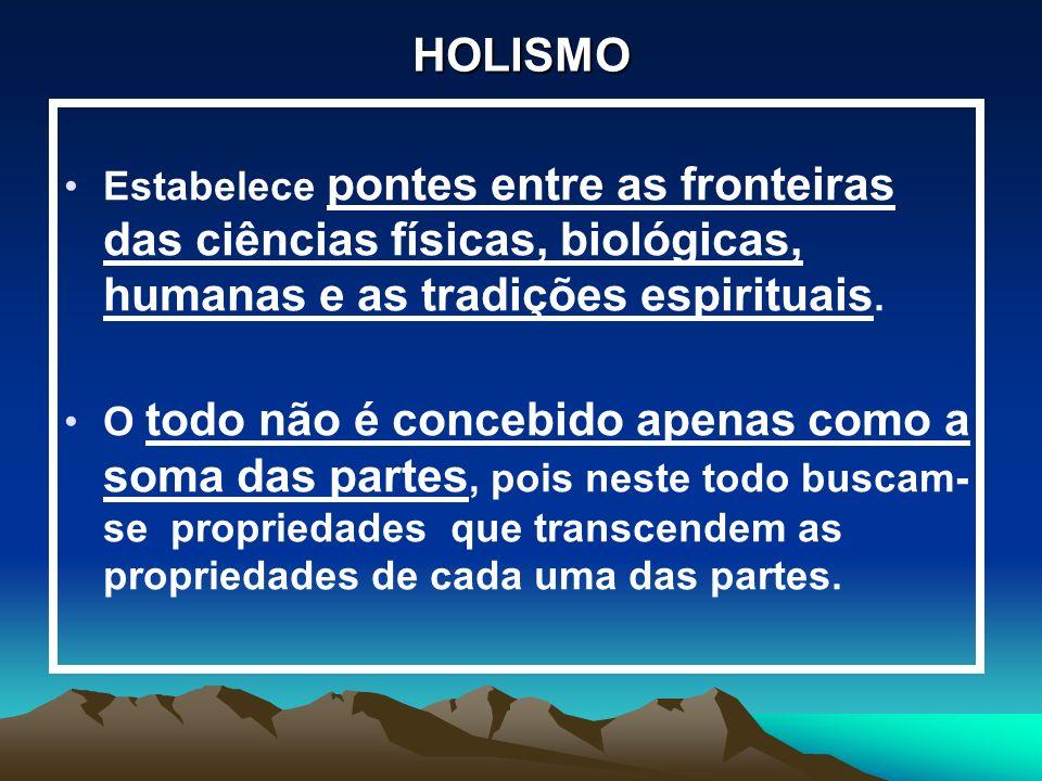 HOLISMO Estabelece pontes entre as fronteiras das ciências físicas, biológicas, humanas e as tradições espirituais.