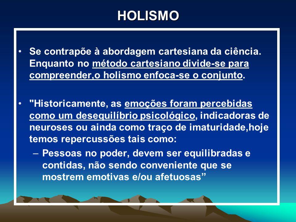 HOLISMO Se contrapõe à abordagem cartesiana da ciência. Enquanto no método cartesiano divide-se para compreender,o holismo enfoca-se o conjunto.