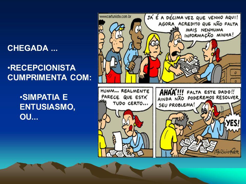 CHEGADA ... RECEPCIONISTA CUMPRIMENTA COM: SIMPATIA E ENTUSIASMO, OU...