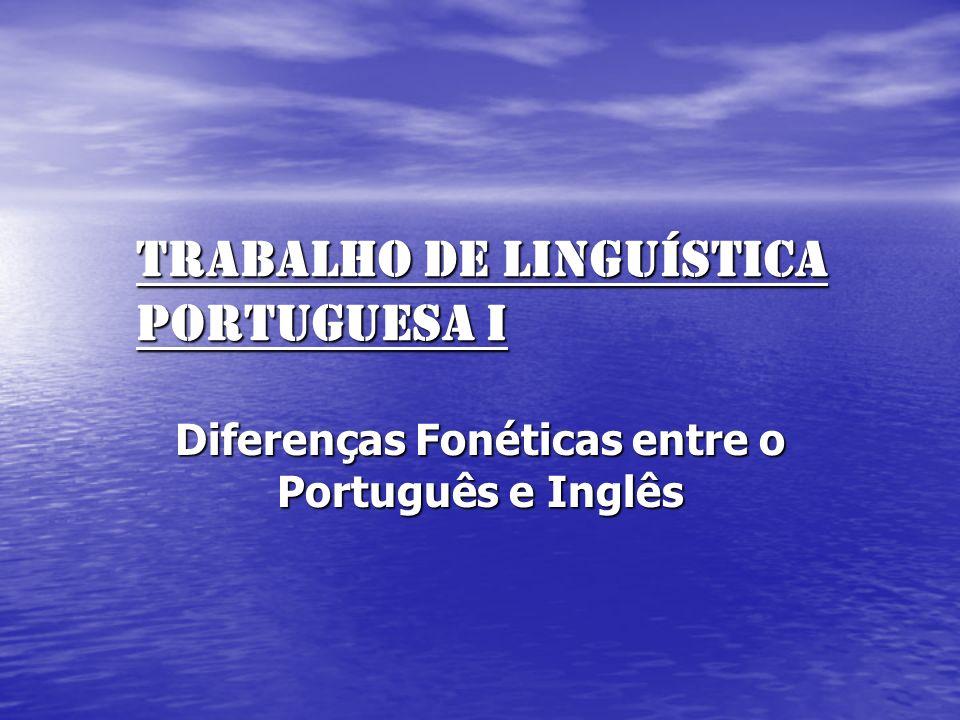 TRABALHO DE LINGUÍSTiCA PORTUGUESA I