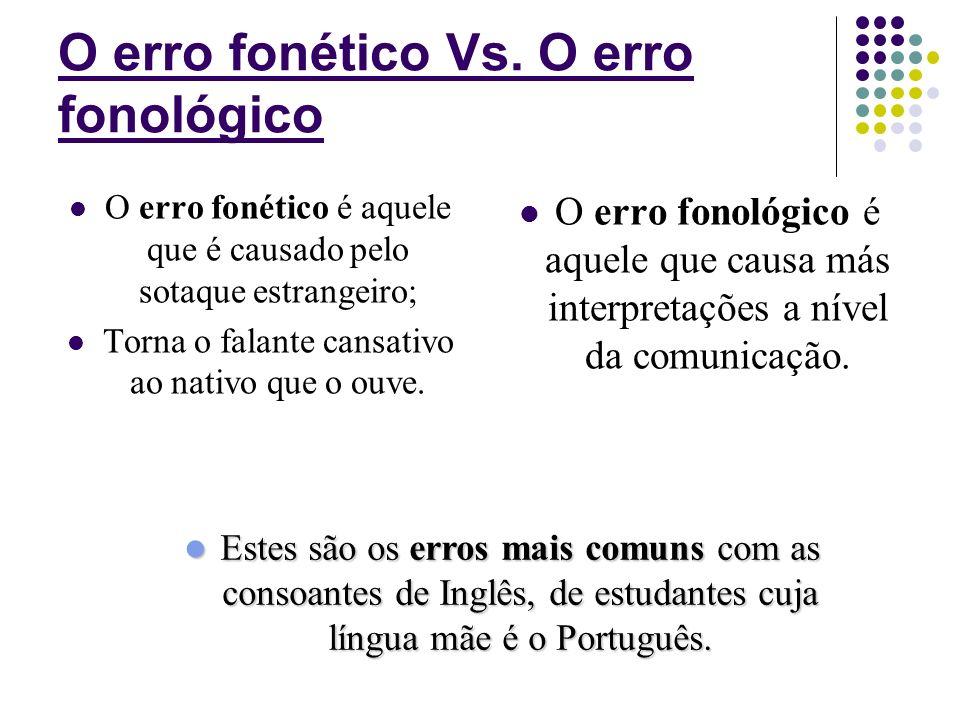 O erro fonético Vs. O erro fonológico