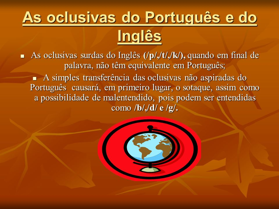 As oclusivas do Português e do Inglês