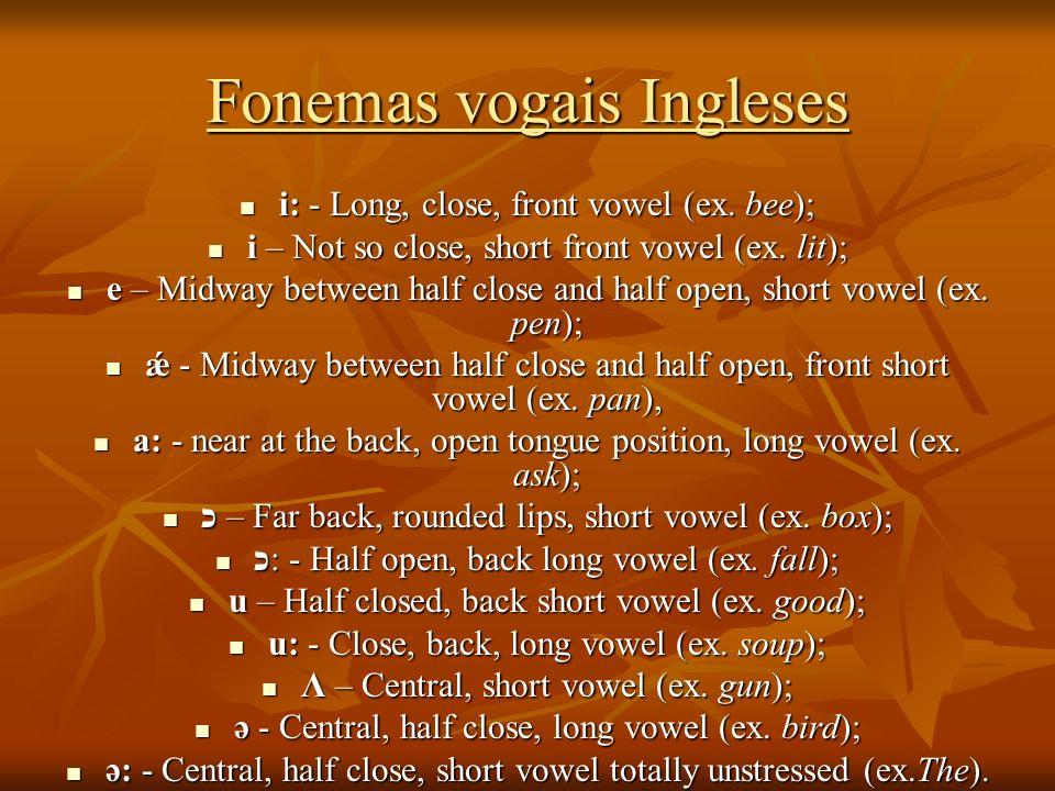 Fonemas vogais Ingleses