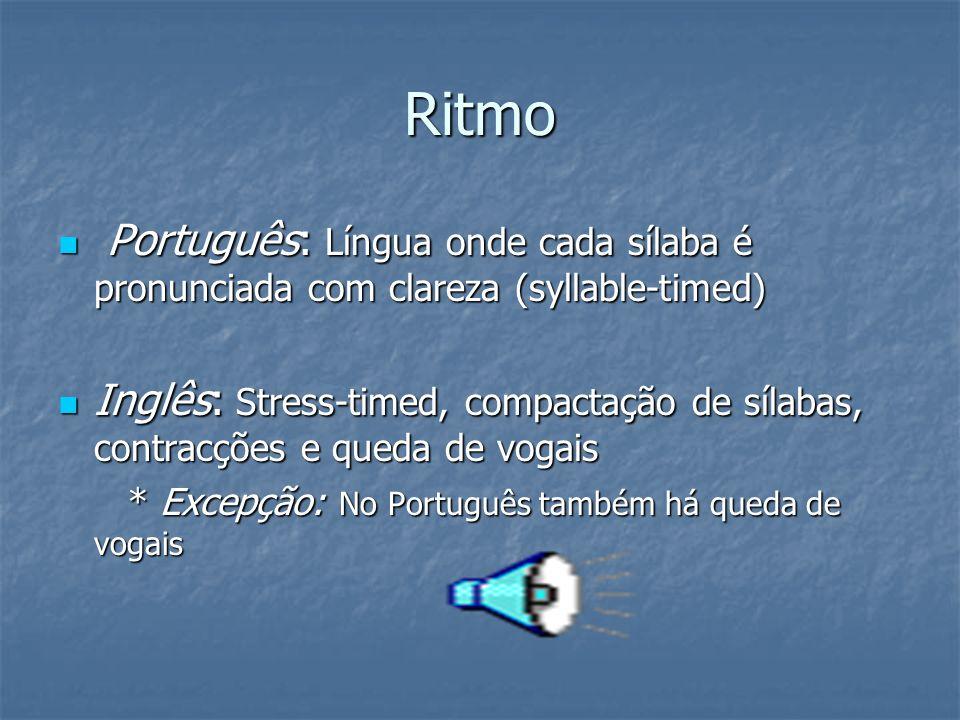 Ritmo Português: Língua onde cada sílaba é pronunciada com clareza (syllable-timed)