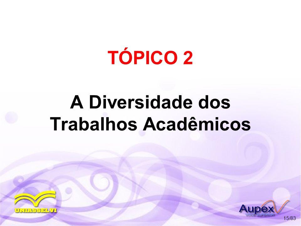 TÓPICO 2 A Diversidade dos Trabalhos Acadêmicos