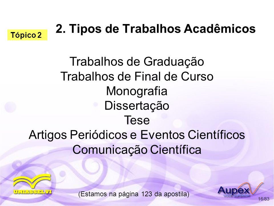 2. Tipos de Trabalhos Acadêmicos