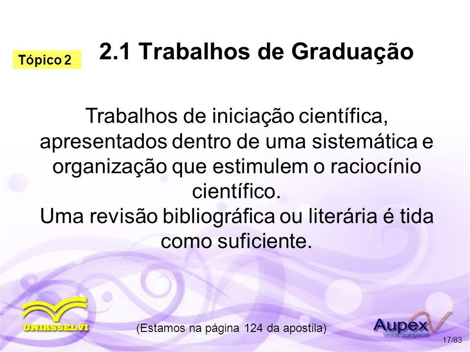 2.1 Trabalhos de Graduação
