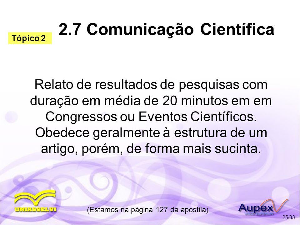 2.7 Comunicação Científica
