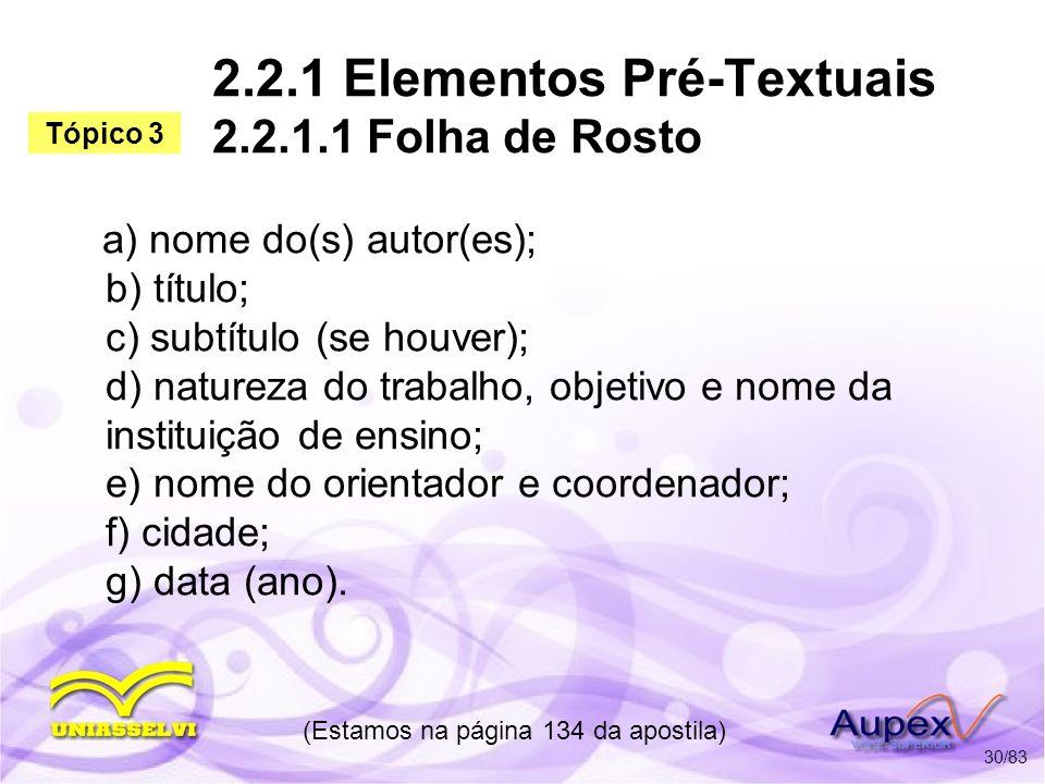 2.2.1 Elementos Pré-Textuais 2.2.1.1 Folha de Rosto