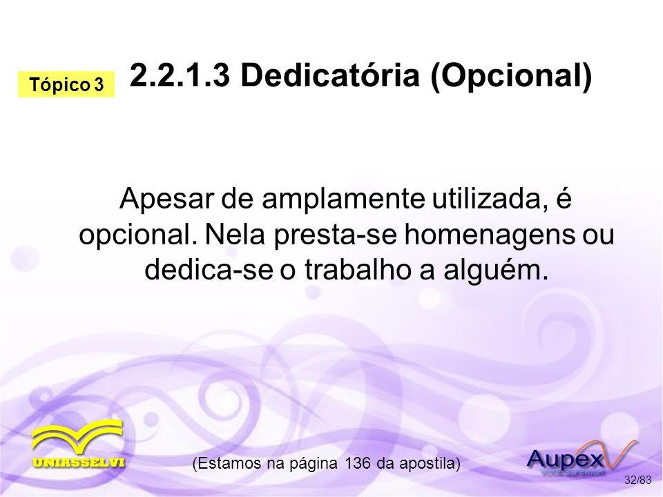 2.2.1.3 Dedicatória (Opcional)