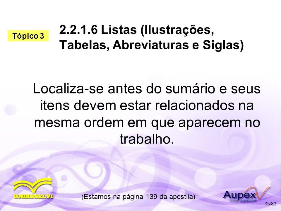 2.2.1.6 Listas (Ilustrações, Tabelas, Abreviaturas e Siglas)