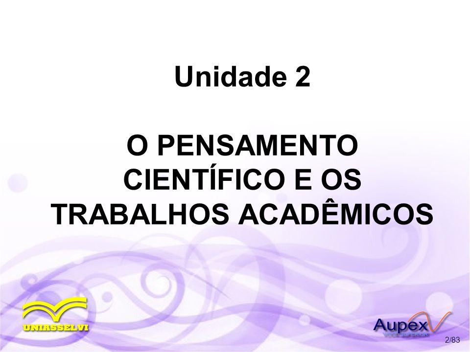 Unidade 2 O PENSAMENTO CIENTÍFICO E OS TRABALHOS ACADÊMICOS