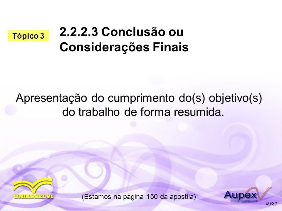 2.2.2.3 Conclusão ou Considerações Finais
