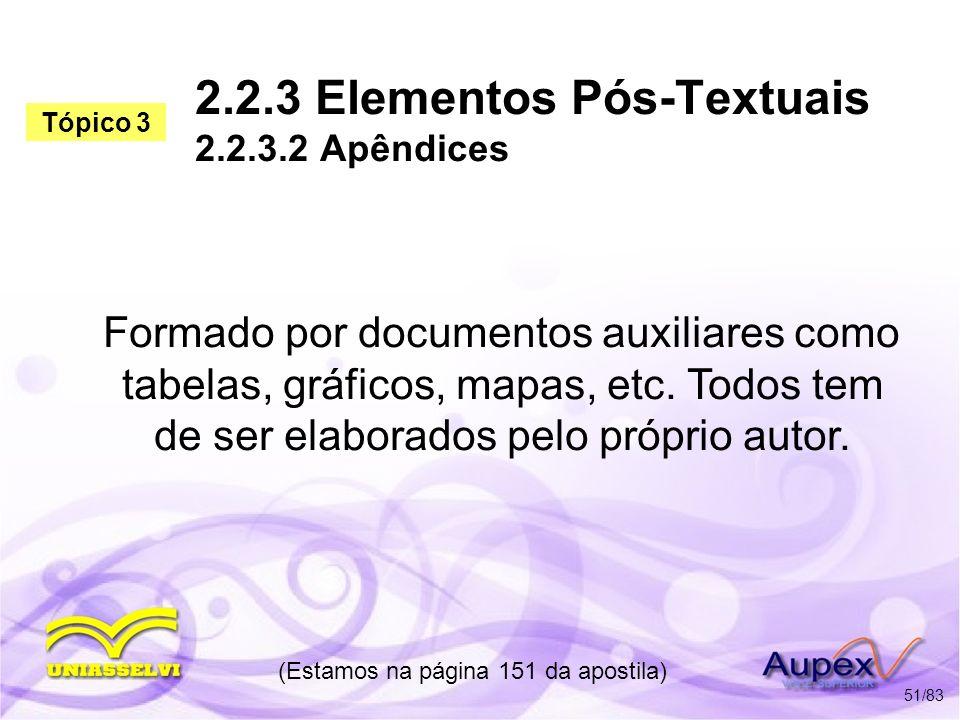 2.2.3 Elementos Pós-Textuais 2.2.3.2 Apêndices