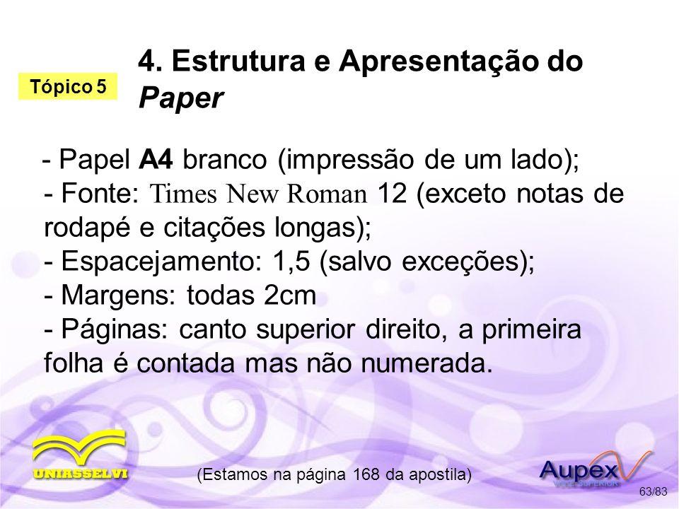 4. Estrutura e Apresentação do Paper