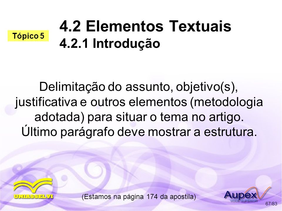 4.2 Elementos Textuais 4.2.1 Introdução