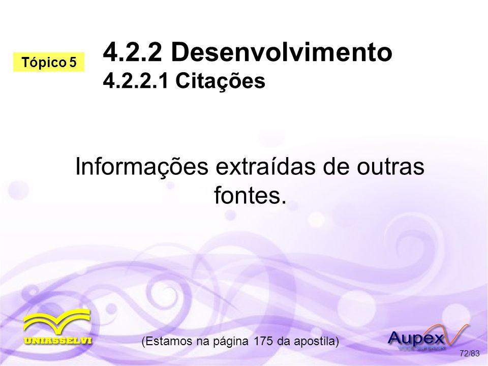 4.2.2 Desenvolvimento 4.2.2.1 Citações