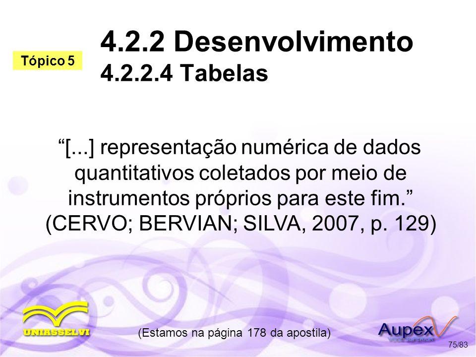 4.2.2 Desenvolvimento 4.2.2.4 Tabelas