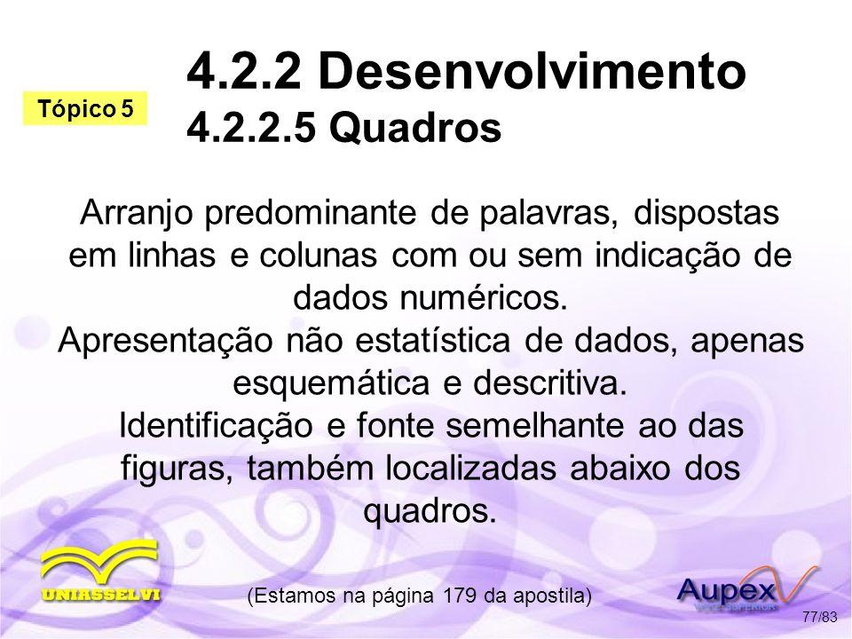 4.2.2 Desenvolvimento 4.2.2.5 Quadros