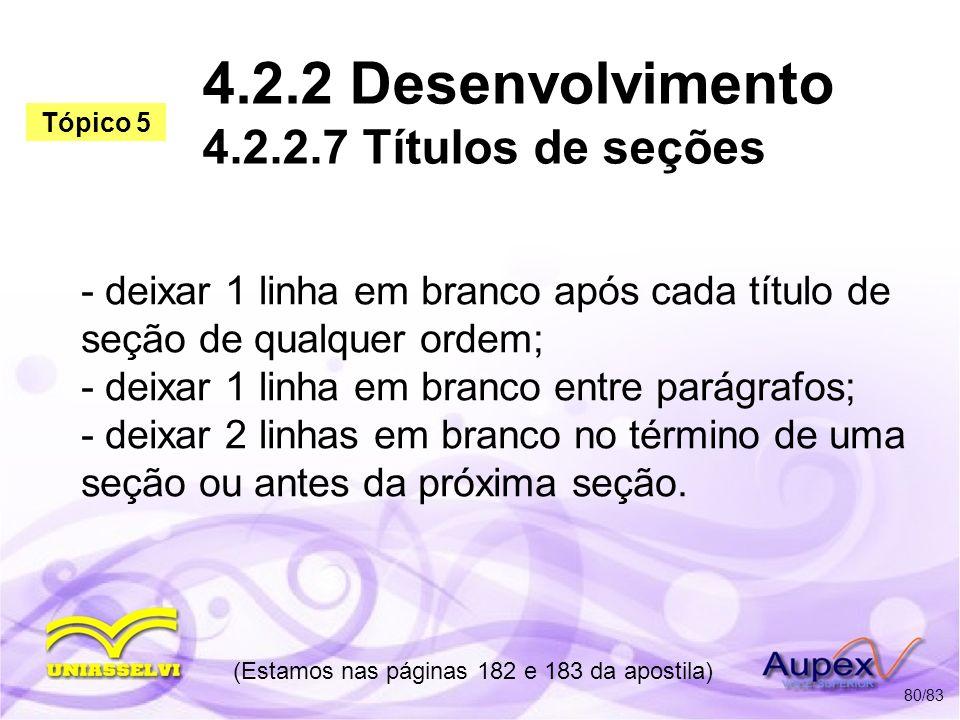 4.2.2 Desenvolvimento 4.2.2.7 Títulos de seções
