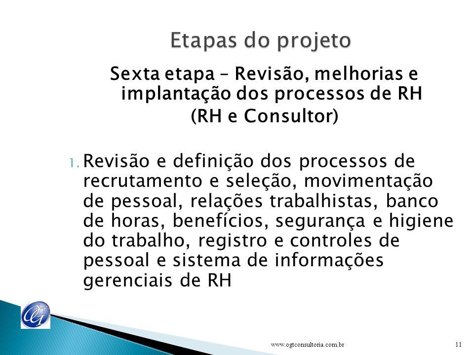 Sexta etapa – Revisão, melhorias e implantação dos processos de RH