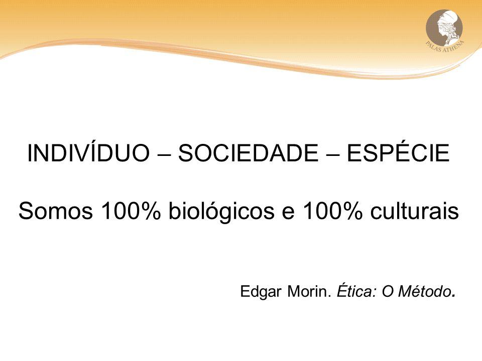 INDIVÍDUO – SOCIEDADE – ESPÉCIE Somos 100% biológicos e 100% culturais Edgar Morin. Ética: O Método.
