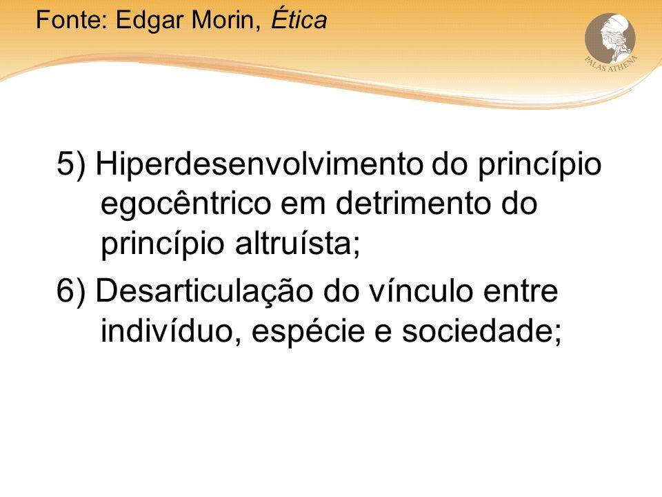 6) Desarticulação do vínculo entre indivíduo, espécie e sociedade;