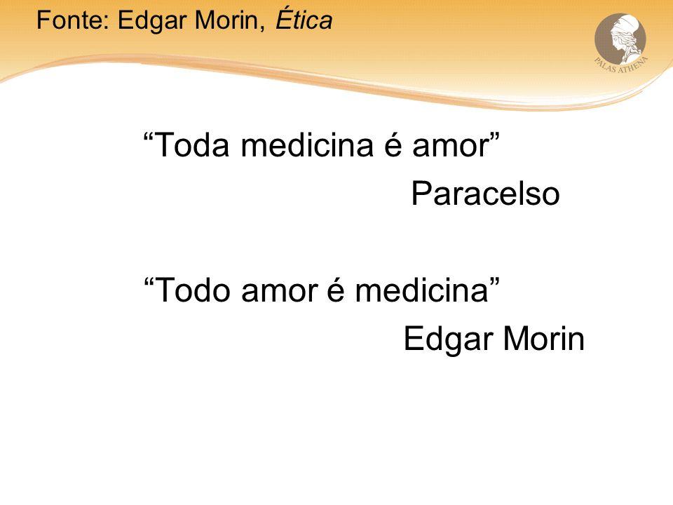 Toda medicina é amor Paracelso Todo amor é medicina Edgar Morin