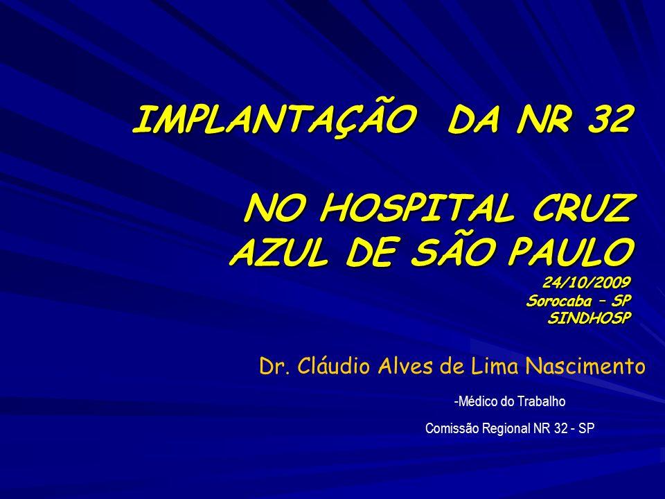 IMPLANTAÇÃO DA NR 32 NO HOSPITAL CRUZ AZUL DE SÃO PAULO 24/10/2009 Sorocaba – SP SINDHOSP