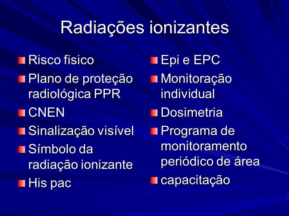 Radiações ionizantes Risco fisico Plano de proteção radiológica PPR