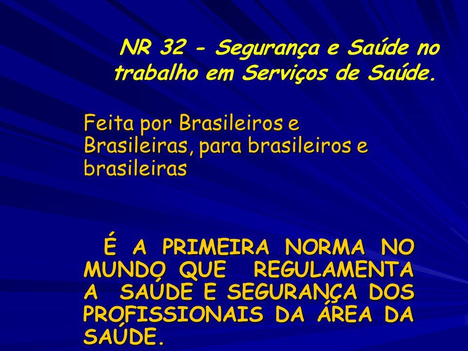 NR 32 - Segurança e Saúde no trabalho em Serviços de Saúde.