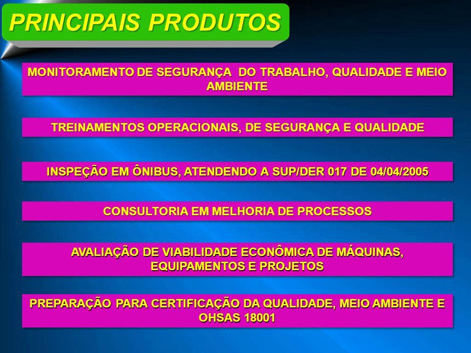 PRINCIPAIS PRODUTOS MONITORAMENTO DE SEGURANÇA DO TRABALHO, QUALIDADE E MEIO AMBIENTE. TREINAMENTOS OPERACIONAIS, DE SEGURANÇA E QUALIDADE.