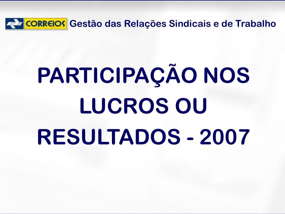 PARTICIPAÇÃO NOS LUCROS OU RESULTADOS - 2007
