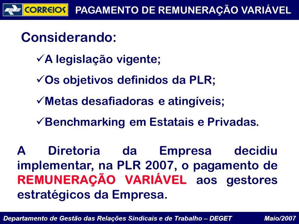 PAGAMENTO DE REMUNERAÇÃO VARIÁVEL