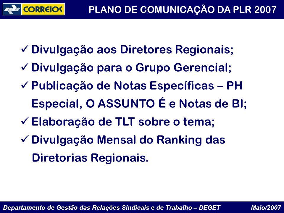 Divulgação aos Diretores Regionais; Divulgação para o Grupo Gerencial;