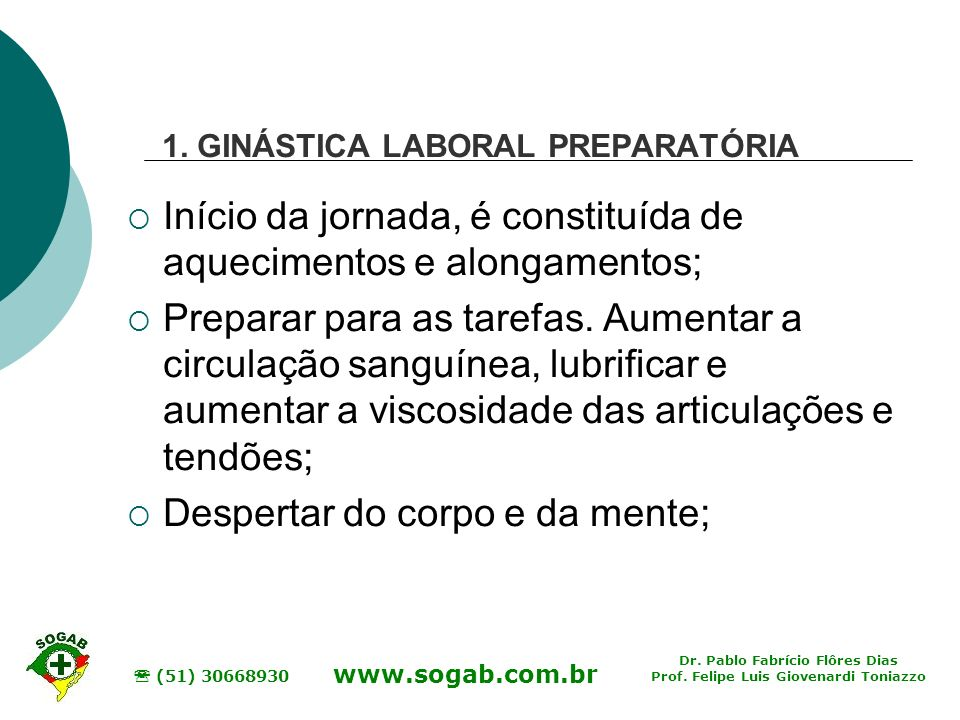1. GINÁSTICA LABORAL PREPARATÓRIA