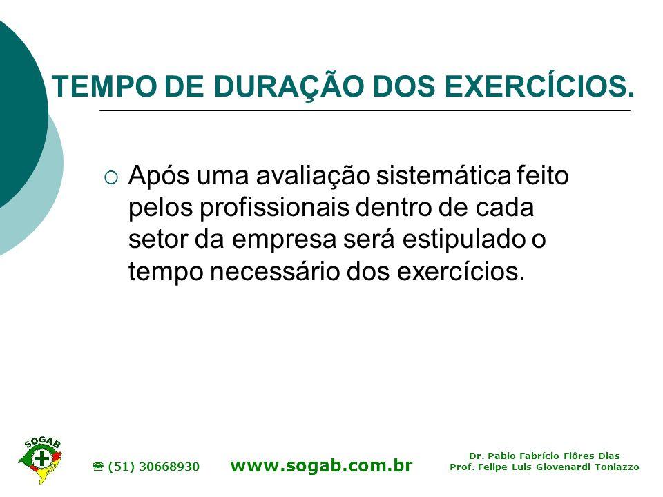 TEMPO DE DURAÇÃO DOS EXERCÍCIOS.
