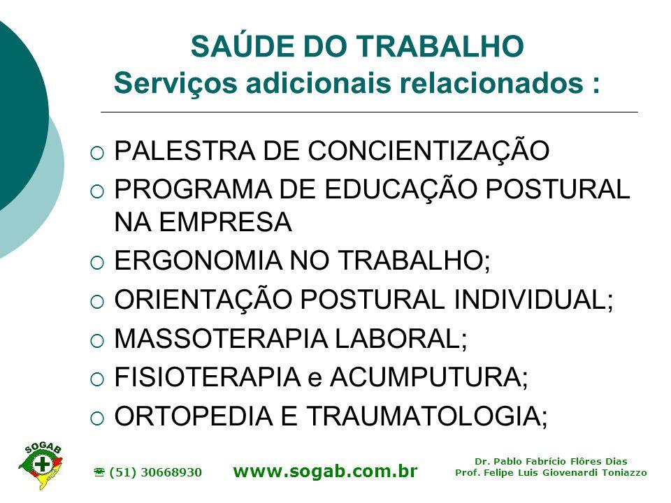 SAÚDE DO TRABALHO Serviços adicionais relacionados :