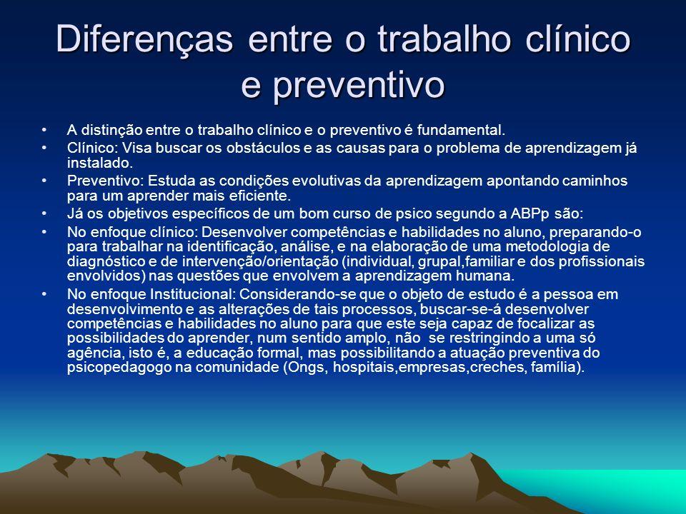 Diferenças entre o trabalho clínico e preventivo