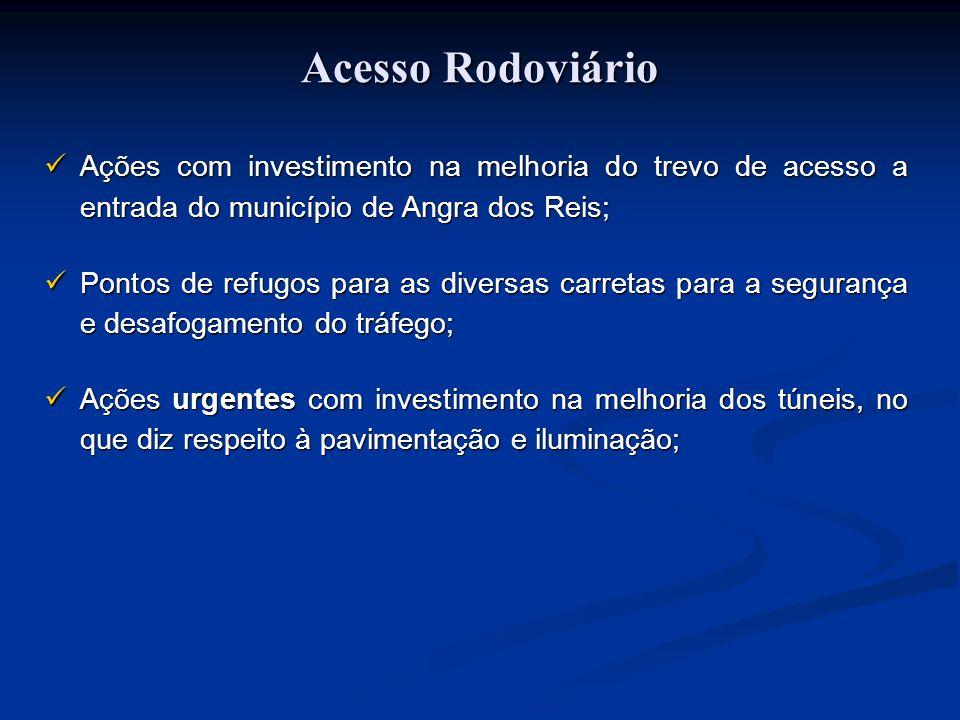 Acesso RodoviárioAções com investimento na melhoria do trevo de acesso a entrada do município de Angra dos Reis;