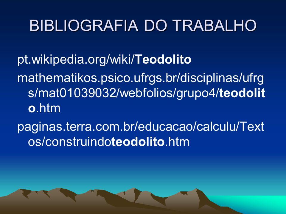 BIBLIOGRAFIA DO TRABALHO
