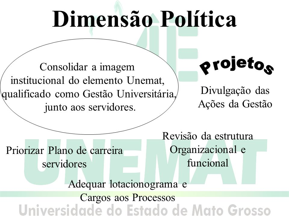 Dimensão Política Projetos Consolidar a imagem