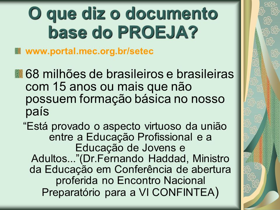 O que diz o documento base do PROEJA